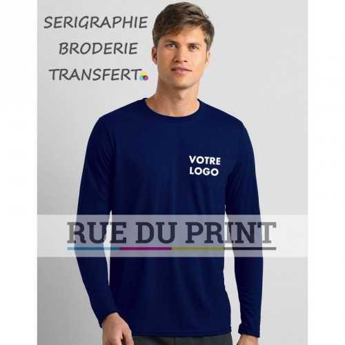 """Tee-shirt publicité adulte Performance S-L 153 g/m² (white: 145g/m²) 100% polyester jersey bord côte 3/4"""" au col"""