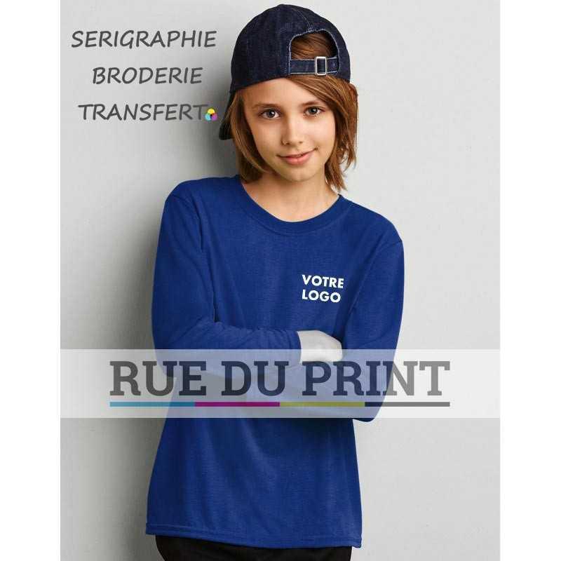 """Tee-shirt publicité Gildan S-L 153 g/m² (White:145 g/m²) 100% polyester jersey bord côte 3/4"""" au col"""