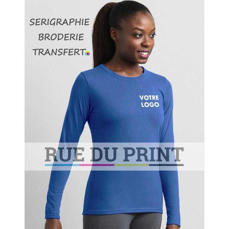 """Tee-shirt publicité femme Gildan S-L 153 g/m² (White: 145g/m²) 100% polyester jersey bord côte 1/2"""" au col"""