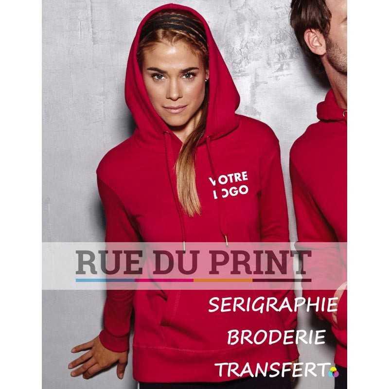 Sweat publicité à capuche femme Active 270 g/m² 80% coton ringspun, 20 %polyester capuche doublée avec cordon large et embout