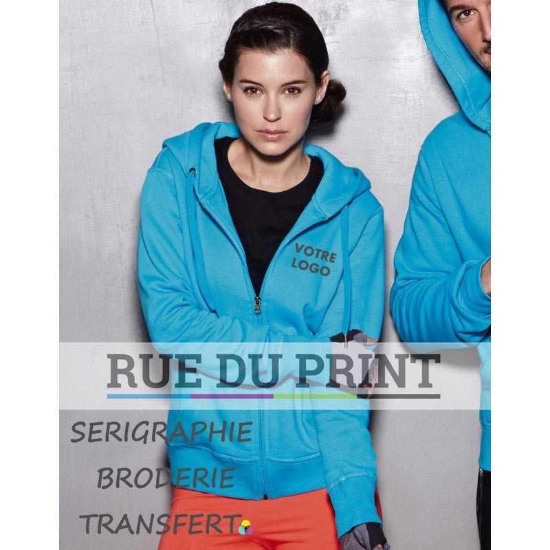 Sweat publicité femme Active 270 g/m² 80% coton ringspun, 20 %polyester capuche doublée avec cordon large et embout métallique
