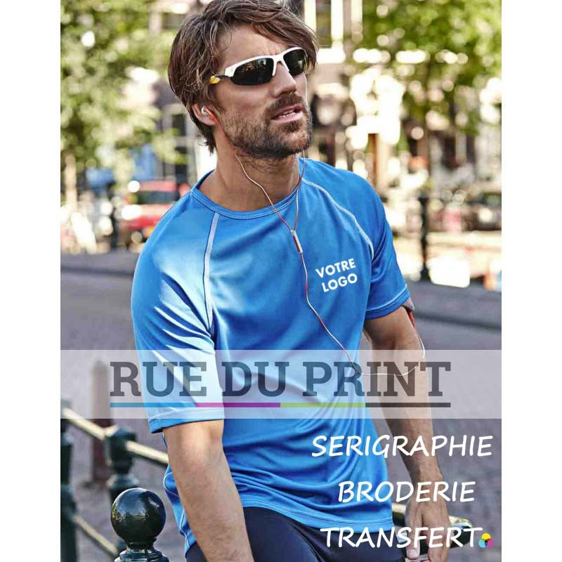 Tee-shirt publicité bleu d'azur profil Performance 150 g/m² 100% polyester (micro polyester fonctionnel) toucher peau de pêche