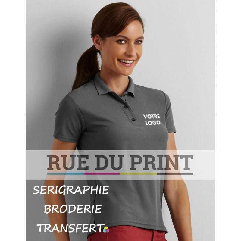 Polo publicité femme double piqué Performance 190 g/m² 100% polyester (double piqué)