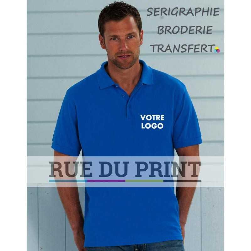Polo publicité homme Better 215 g/m² (White: 210 g/m²) 100% coton peigné piqué ringspun bord côte au col et au bord des manche