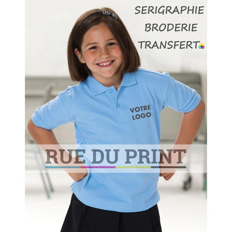 Polo publicité enfant 215 g/m2 (White: 210 g/m2) 65% polyester, 35% coton piqué ringspun renfort épaules