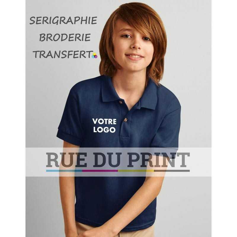 Polo publicité enfant Dry Blend 190 g/m² (White: 185 g/m²) 50% coton, 50% polyester prérétréci