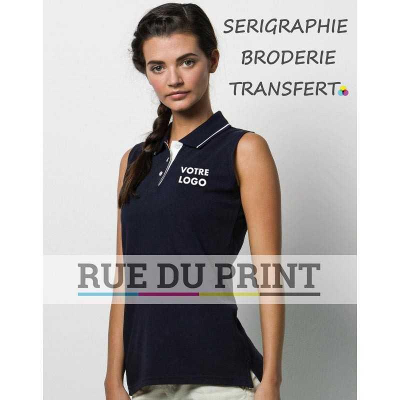 Polo publicité sans manches femme Gamegear 210 g/m² 100% coton peigné piqué liseré contrasté au col
