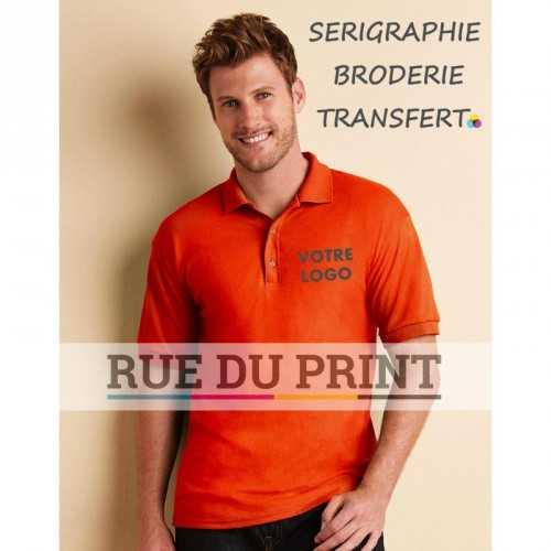Polo publicité homme DryBlend 185- 190g/m2 50% Coton, 50% Polyester col galbé étiquette transfert à chaud