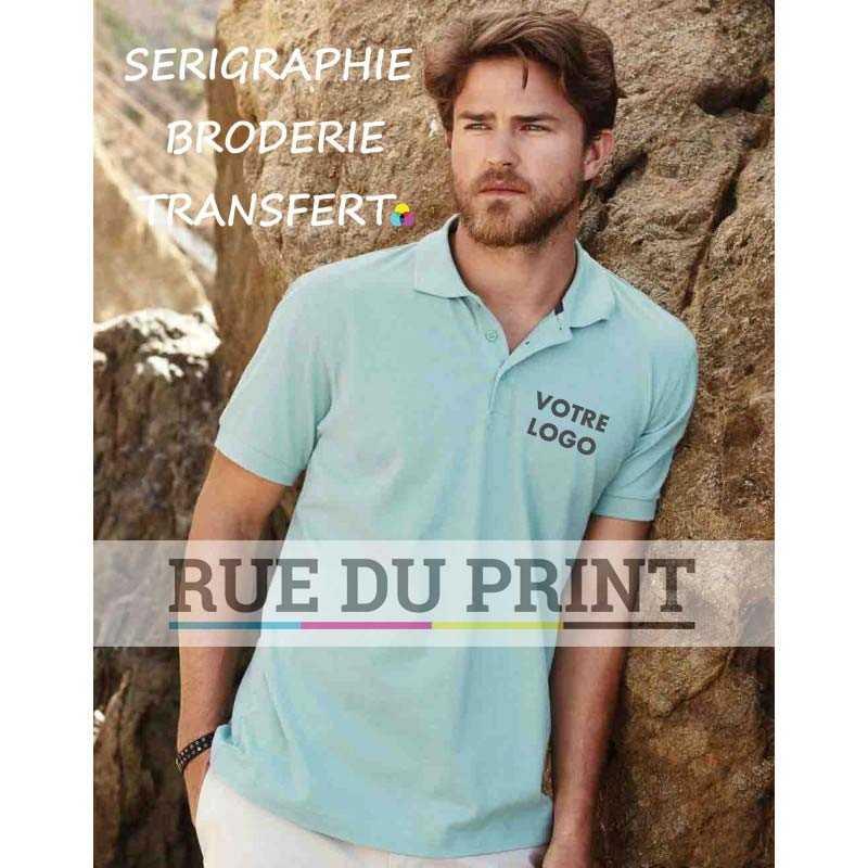Polo publicité Harper 180 g/m² 100% coton, ring spun peigné (piqué) Bord côte au col et poignets