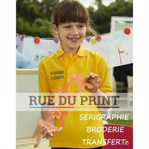 Polo publicité Kids 180 g/m2 (White: 170 g/m2) 65% polyester, 35% coton bande de propreté à l'encolure