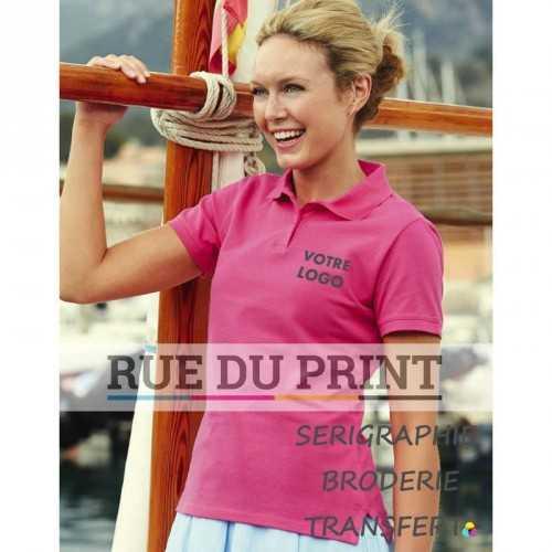 Polo publicité femme Fitted 220 g/m² (White: 210 g/m²) 97 coton, 3% élasthanne col à côtes plates avec bande de propreté intég