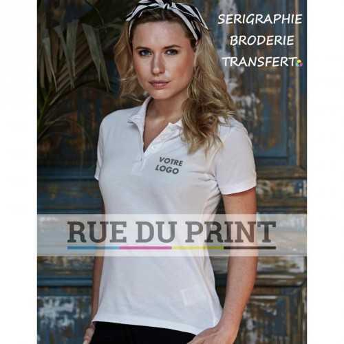Polo publicité femme piqué Heavy 215 g/m² 100% coton peigné ringspun (piqué) prérétréci