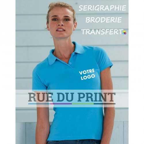 Polo publicité femme Pique 200 g/m² (White: 195 g/m²) 100% coton piqué ringspun ((Light Oxford: 93% coton, 7% polyester)
