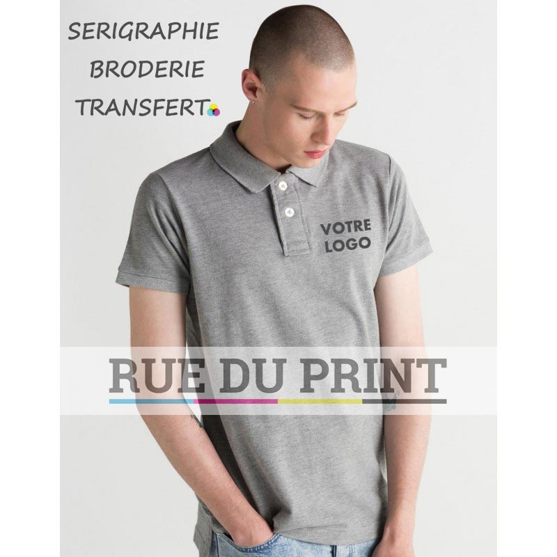 Polo publicité homme Mantis 280 g/m² 100% coton pique large patte de boutonnage