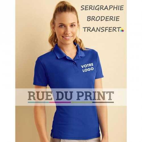 Polo publicité double piqué femme Performance 190 g/m² 100% polyester (double piqué)