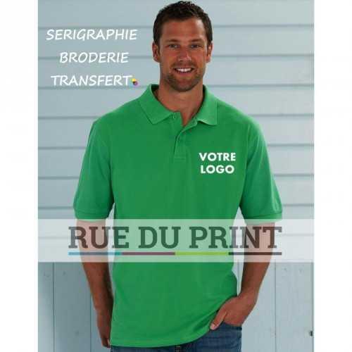 Chemise polo publicité piqué 200 g/m² (White: 195 g/m²) 100% coton peigné (Light Oxford: 93% coton, 7% polyester) bande de pr