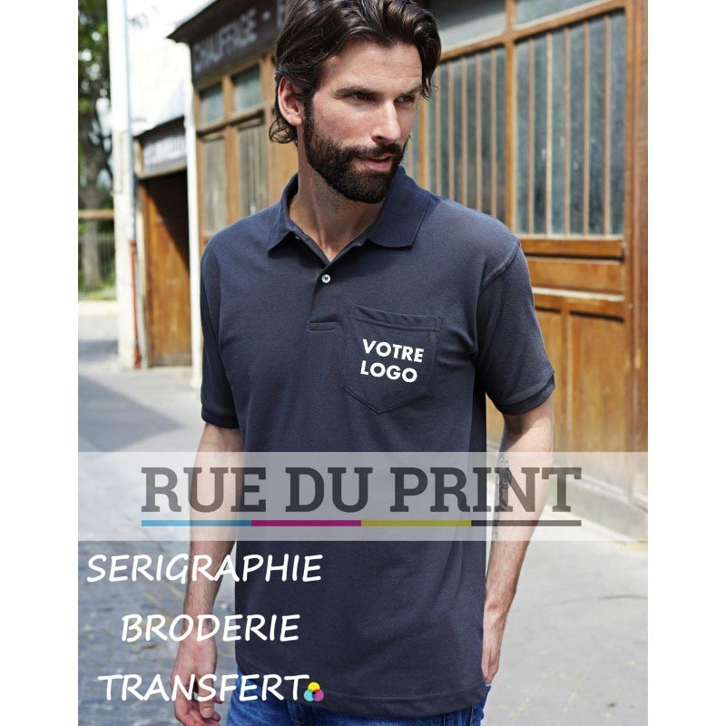 Polo publicité Pocket 185 g/m² 60% coton, 40% polyester (piqué) tissu résistant prérétréci