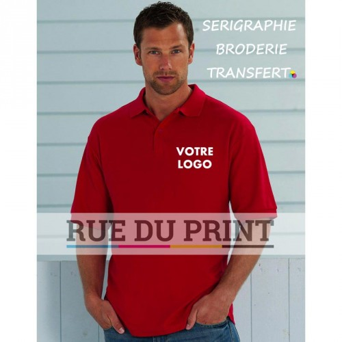Polo publicité Fabric 215 g/m² (White: 210 g/m²) 65% polyester, 35% coton ringspun piqué Bande de propreté