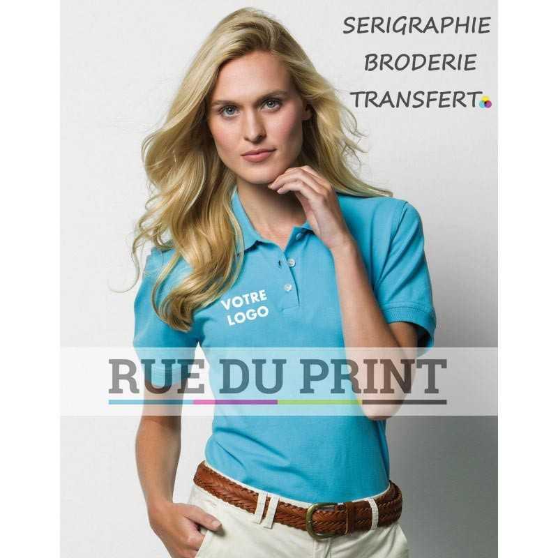Polo publicité femme kate 210 g/m² 98% coton peigné piqué, 2% Lycra patte de boutonnage 3 boutons