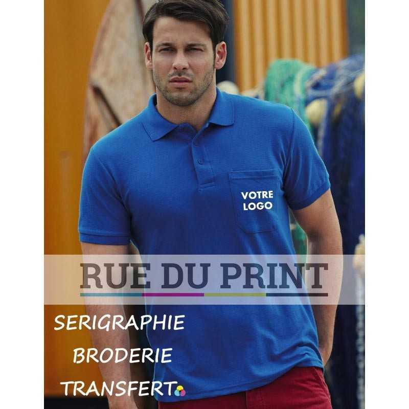 Polo publicité avec Pocket 180 g/m² (White: 170 g/m²) 65% polyester, 35% coton poche poitrine