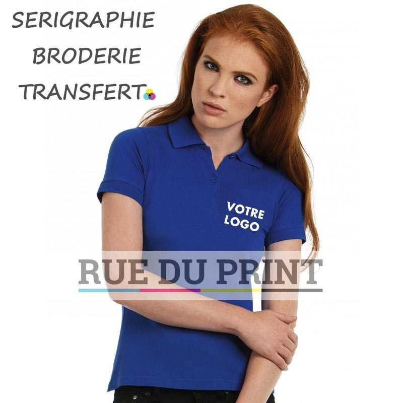 Polo publicité femme Safran 180 gr/m2 100% ringspun coton peigné piqué (Heather Grey: 90% coton, 10% Viscose) prérétréci