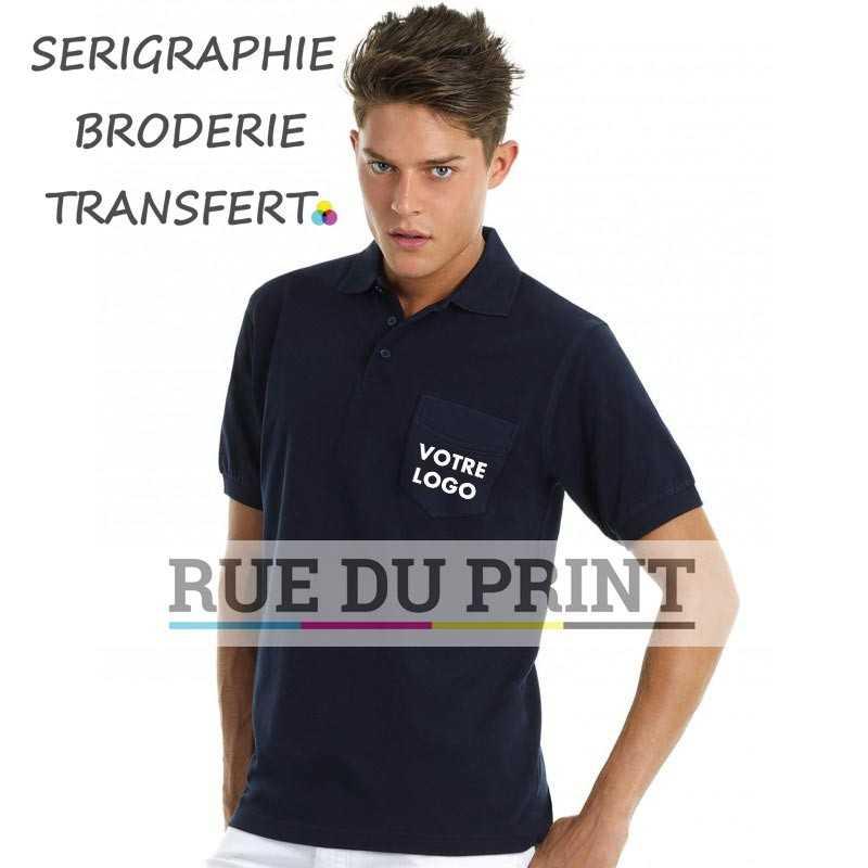 Polo publicité avec poche Safran 180 g/m2 100% coton ringspun (Ash: 99% coton, 1% viscose) patte de boutonnage 3 boutons ton s