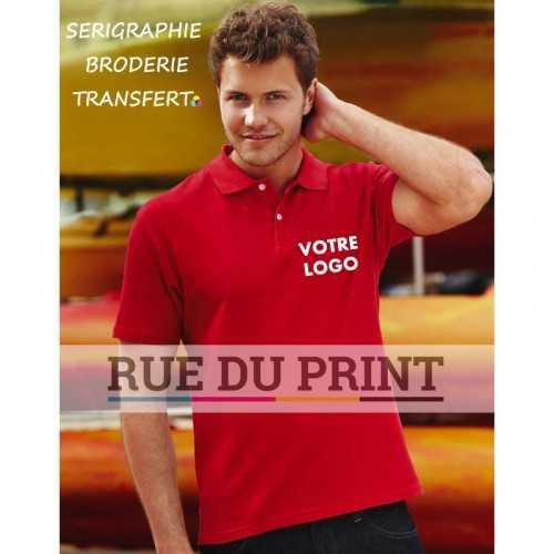 Polo publicité Stars 180 g/m² (White: 170 g/m²) 100% coton col plat côte 1 X 1 avec bande de propreté