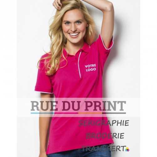 Chemise polo publicité femme Essential 185 g/m² 65% polyester, 35% coton piqué bord côte 1x1 au col et manches avec rayure con