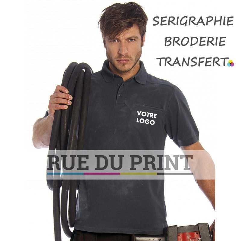 Polo publicité Workwear 230 g/m2 100% coton empiècement demi-lune et bride d'encolure