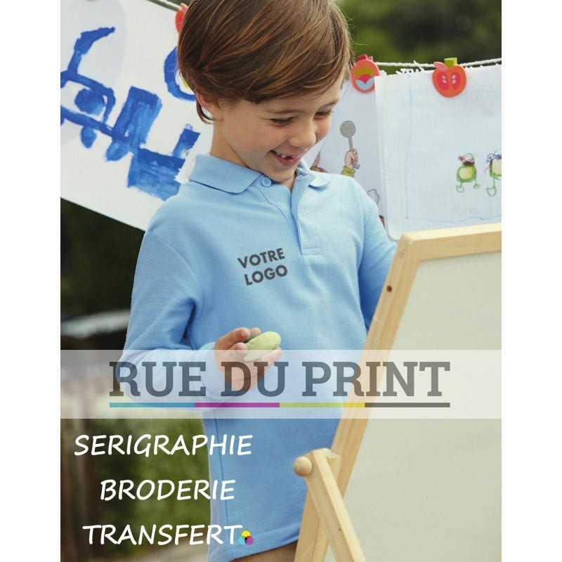 Polo publicité manches longues enfant 180 g/m2 (White: 170 g/m2) 65% polyester, 35% coton