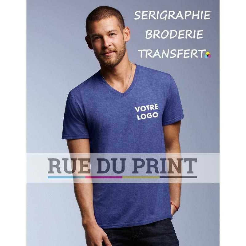 Tee-shirt publicitaire bleu profil Tri-Blend 50% polyester, 25% coton peigné ringspun, 25% rayon, 159 g/m² bande de renfort épa