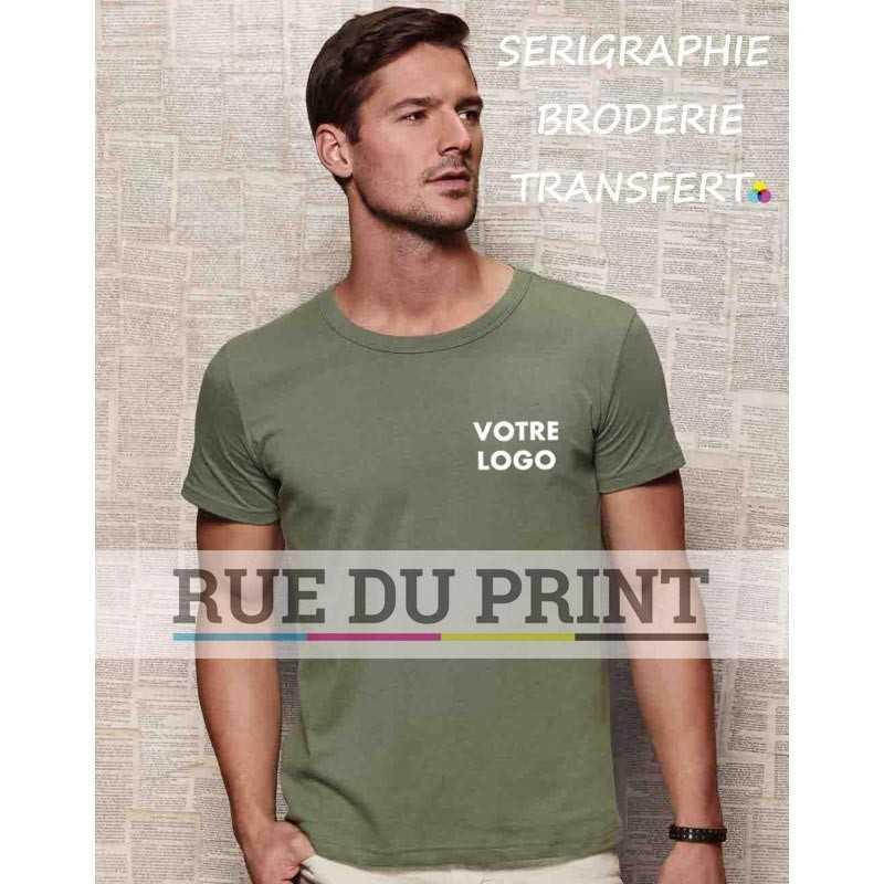 Tee-shirt publicité vert militaire profil ras de cou 100% coton, ringspun (jersey simple), 160 g/m² Grey Heather: 85% coton, 15