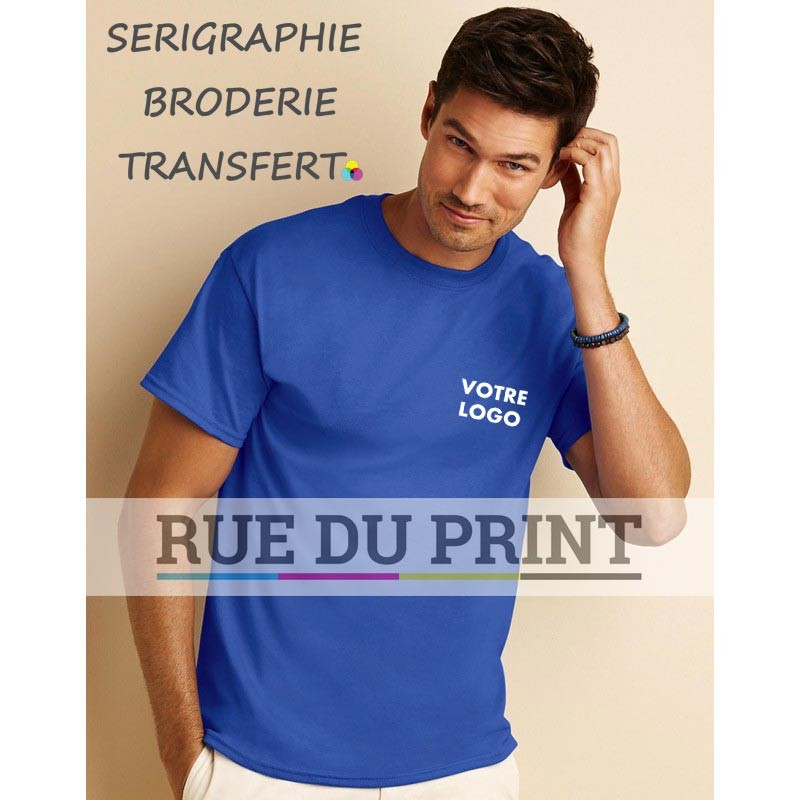 Tee-shirt publicité bleu roi profil adulte DryBlend 190 g/m² (White: 180 g/m²) 50% coton, 50% polyester jersey irrétrécissable