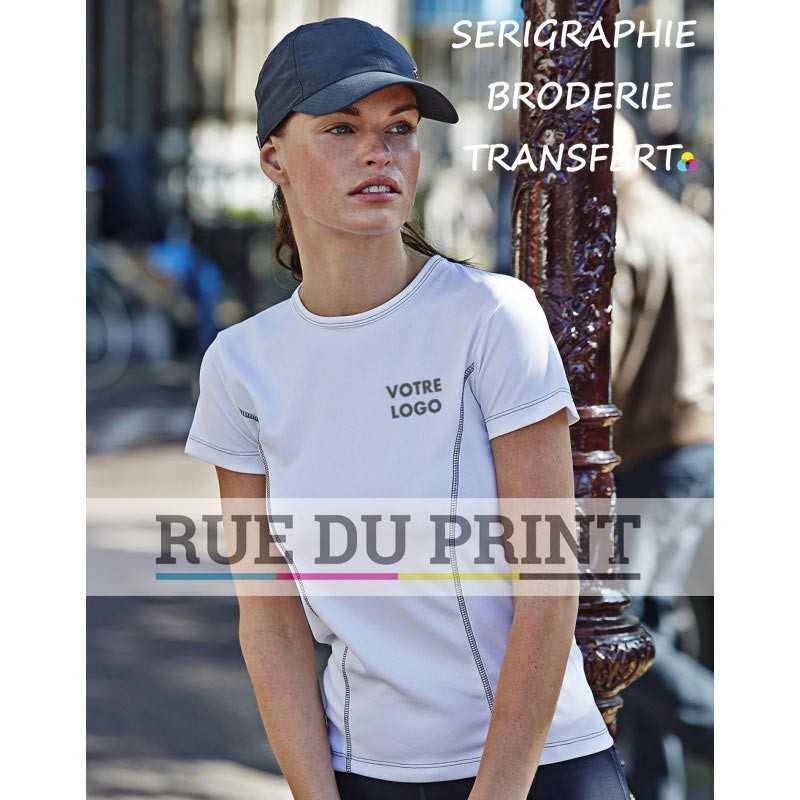 Tee-shirt publicité blanc face femme Performance 100% polyester (micro polyester fonctionnel), 150 g/m² toucher peau de pêche