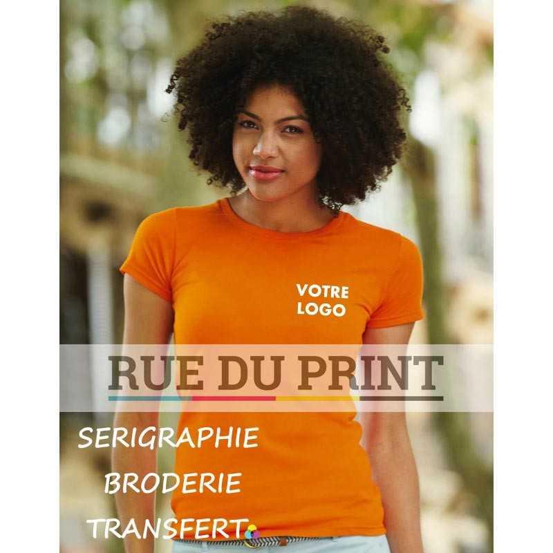 Tee-shirt publicité orange profil femme Fit Sofspun 100% coton jersey simple (Heather Grey: 97% coton, 3% polyester), 165 g/m²