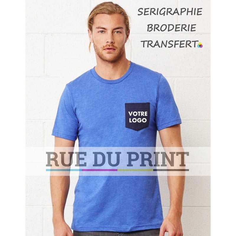 Tee-shirt publicité bleu profil homme avec poche Jersey 100% coton peigné ringspun, 145 g/m² couleurs heather: 52% coton peigné