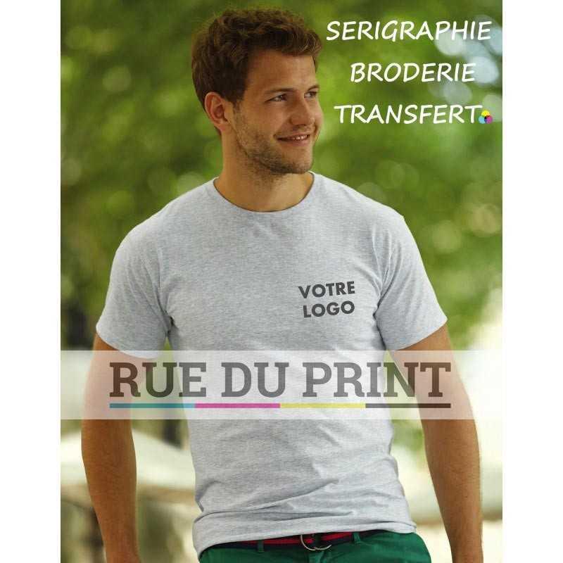 Tee-shirt publicité gris claire profil homme Sofspun 165 g/m² (White: 160 g/m²) 100% coton jersey simple (Heather Grey: 97% cot