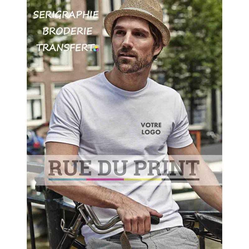 5d107ecc063 Tee-shirt publicité blanc profil homme Fashion 100% coton peigné ringspun
