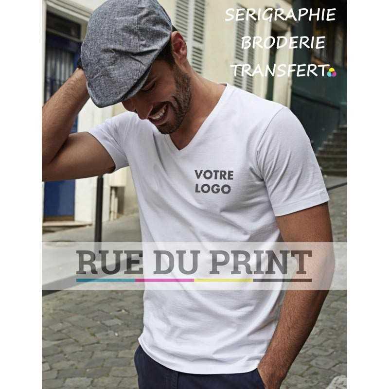 Tee-shirt publicité blanc profil homme col V Fashion 100% coton (longue fibre), ringspun peigné, 185 g/m² coton prérétréci