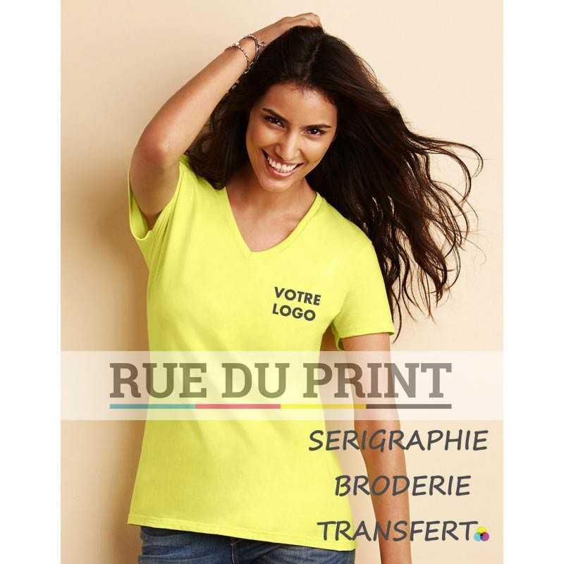 Tee-shirt publicité jaune profil femme col V Premium 185 g/m² (White: 180 g/m²) 100% coton ringspun (jersey) Sport Grey: 90% c