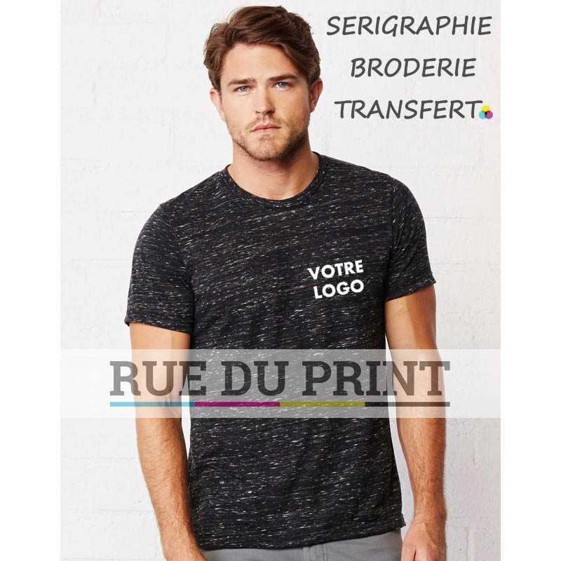 Tee-shirt publicité gris foncé profil Unisex Poly 52% coton peigné ringspun, 48% polyester, 145 g/m² couleurs Marble: 50% polye