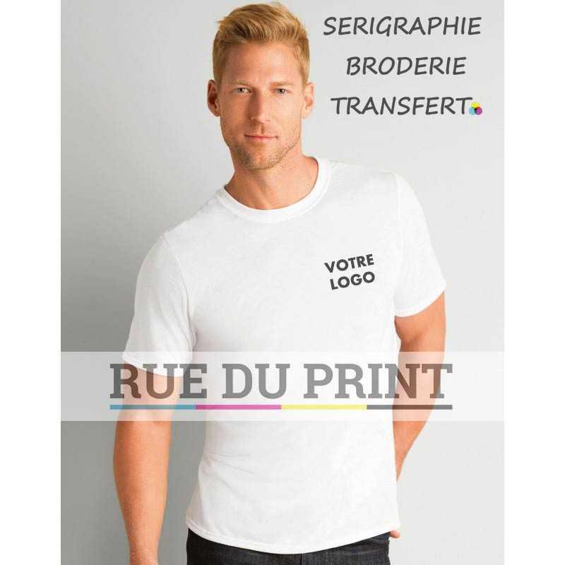 Tee-shirt publicité blanc profil adulte Sublimation 100% polyester, 169 g/m² simple surpiqûre de 1,9 cm au col bande au col é