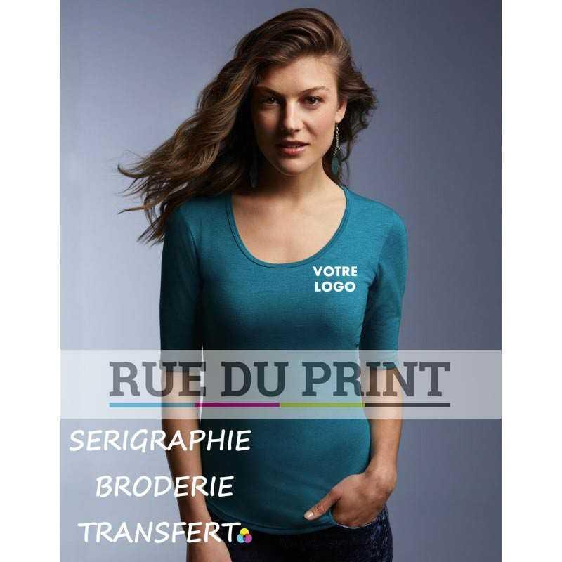 Tee-shirt publicité bleu bruyère profil femme Tri-Blend manches 1/2 50% polyester, 25% coton peigné ringspun, 25% rayon, 159 g/m