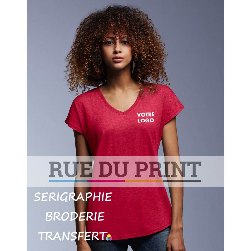 Tee-shirt publicité rouge profil femme col V Tri-Blend 50% polyester, 25% coton peigné ringspun, 25% rayon, 159 g/m²