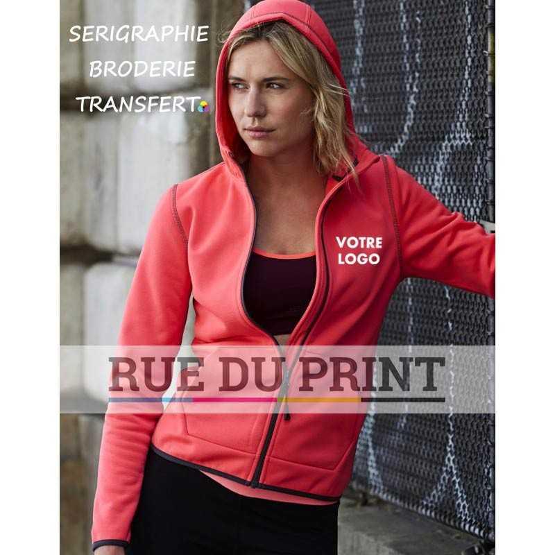 Polaire publicité femme Malibu 250 g/m² 100% Polyester Brossé à l'intérieur Capuche Fermeture à glissière complète