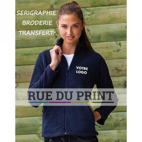 Polaire publicité femme Fleece 320 g/m2 100% polyester anti-peluche col officier fermeture à glissière ton sur ton