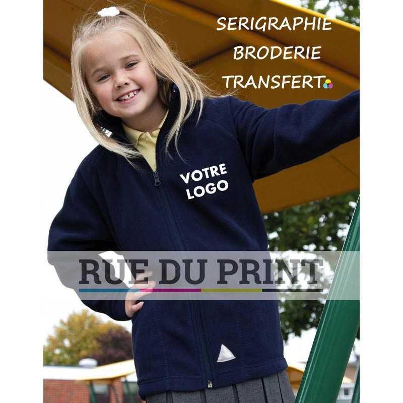 Polaire publicité enfant Micron 200 g/m² 100% polyester (microfleece) fermeture à glissière assortie