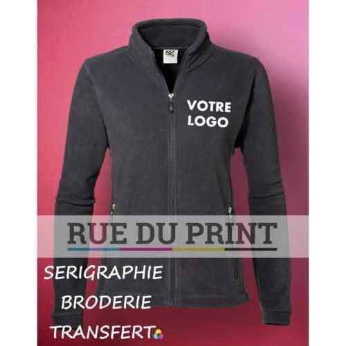 Polaire publicité femme Fleece 320 g/m² 100% polyester traité antipeluche fermeture à glissière et pull-tab ton sur ton avec c