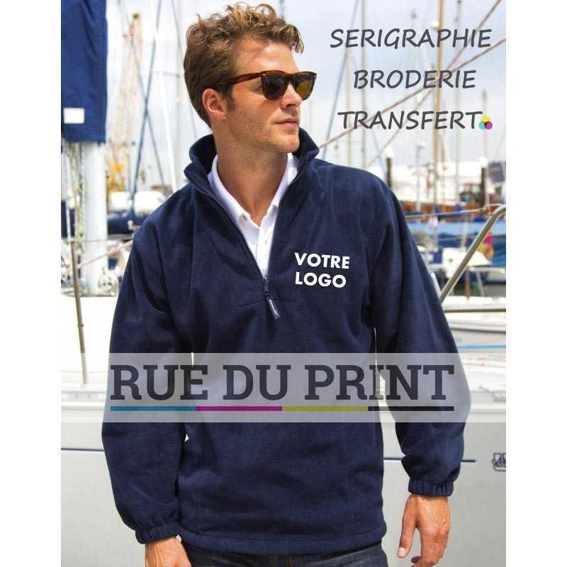 Gilet publicité 1/4 Fleece 330 g/m² 100% polyester polaire traité anti-peluche