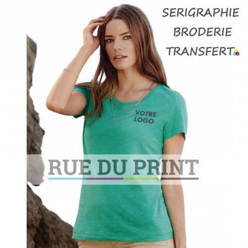 """Tee-shirt publicité bleu profil femme col V Sharon 100% coton ringspun (jersey simple """"slub""""), 140 g/m² bande de propreté aux"""